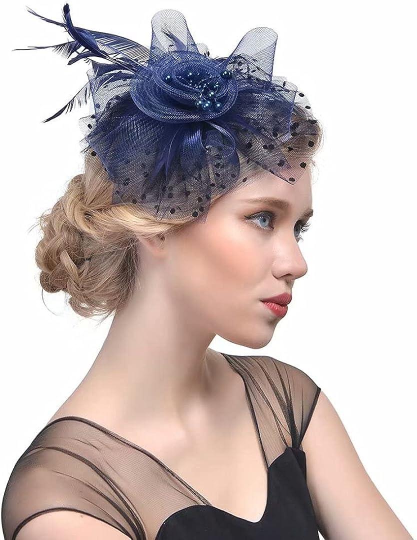 Martha Lia 5 ☆ very popular Elegant Fascinators Hat Feather Headwear Dot Hair C Net Retro