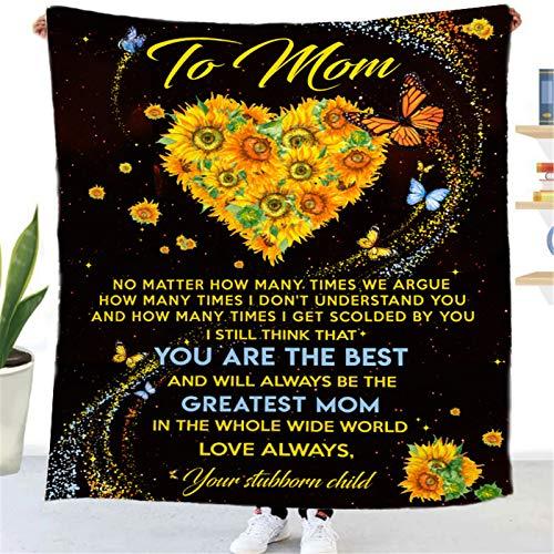 ACJIA A mi Letra Mamá Sherpa Manta, Carta de Girasol del corazón 3D de la Hija Diseño gráfico Impreso Lanzamiento Suave Cozy Fleece Manta,100x150cm