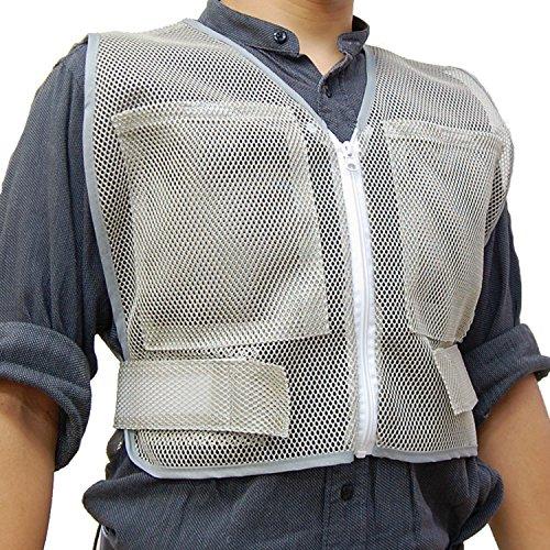 PAX-ASIAN 男女兼用 熱中対策 涼感 メッシュベスト 保冷剤収納ポケット 前後4個収納可能 (冷却剤は別売りです)グレ− #912 (1)