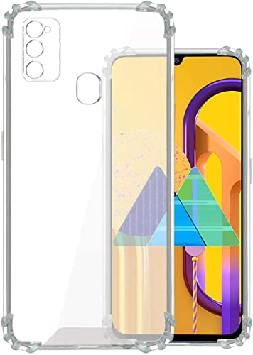 BatchOne Soft Silicone with Anti Dust Plugs Shockproof Slim Back Transparent Case Compatible for Samsung Galaxy M31 M21 Transparent