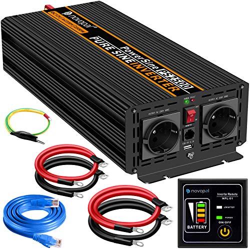 2500W KFZ Reiner Sinus Spannungswandler - Auto Wechselrichter 12V auf 230V Umwandler - Inverter Konverter mit 2 EU Steckdose und USB-Port - inkl. 5 Meter Fernsteuerung - Spitzenleistung 5000 Watt