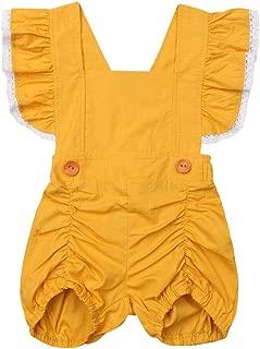 Baby Girl Ruffle Sleeveless Romper Toddler Button Jumpsuit Newborn Elegant Casual Bodysuit 0-24M