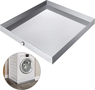 VEVOR 32 x 30 Inch Washing Machine Pan Galvanized Steel Heavy Duty Compact Washer Drip Tray with Drain Fitting