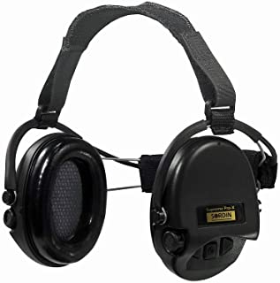 Sordin Supreme PRO X Neckband Safety Ear Muffs - Perfect for Helmets- Foam Ear Seals SNR: 25dB - Black - 76302-X-02
