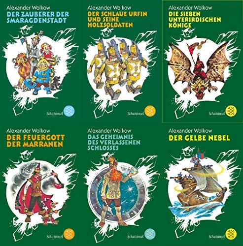 6 banden van Alexander Wolkow als zakboek (1e De magische van de Smaragdenstad + 2. De slimme vakantie en zijn houtsoldaten + 3. De zeven ondergrondse koningen + 4. De vuurpot van de marranen + 5. De gele nevel + 6. Het geheim van het verlaten slot).