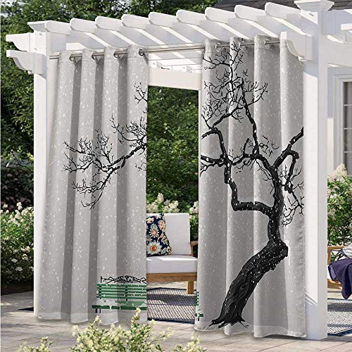 Adorise Outdoor Blackout Curtains Dramatic Winter Scenery with Retro Bench and Lonely Tree in a Cold Day Darkening Window Panel for Patio, Soft & Elegant Charcoal Grey Sea Green W84 x L84 Inch