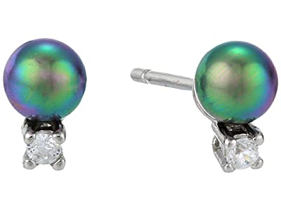 Majorica 4 mm Round Pearl and CZ Mini Short Earrings with Post On Rhodium-Plated (Grey) Earring