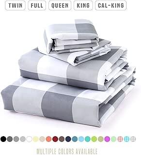 Luxe Bedding Sets - Queen Sheets 4 Piece, Flat Bed Sheets, Deep Pocket Fitted Sheet, Pillow Cases, Queen Sheet Set - Gingham Gray