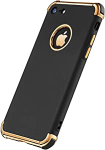 iPhone 7 Case, iPhone 8 Case, Ultra Thin Flexible Soft iPhone 8 Matte Case, Luxury 3 in 1 Slim Fit Electroplated Shockproof Phone Case for iPhone 7/ iPhone 8 (Black)