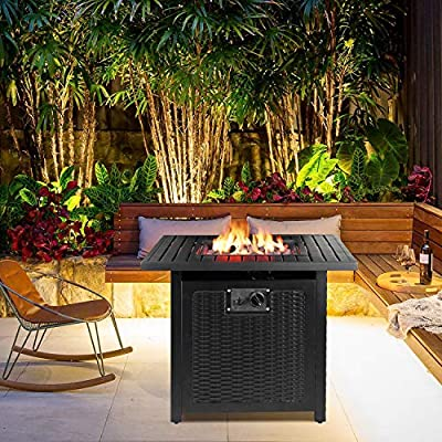 "femor 30"" Propane Gas Fire Pit, 50,000 BTU Auto-Ignition Fire Bowl with Waterproof Firepit Table Cover & Lava Rock, CSA Certification, Outdoor Square Fireplace for Courtyard/Balcony(Black)"