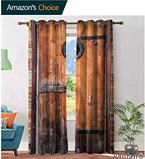 Big datastore Pattern DIY Available Curtain,RusticPhotograph of Antique Knotted Pine Wood with Control Window Lumber Nature Design,with Solid Grommet Top,Caramel Brown,W84 xL84