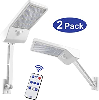 Aqonsie 48 Led Remote Solar Lights Outdoor 180° Adjustable Angle Security Night Light Wireless Motion Sensor Remote Control & 3 Lighting Modes with Mounting Rod for Courtyard Deck Road Home 2 Pack