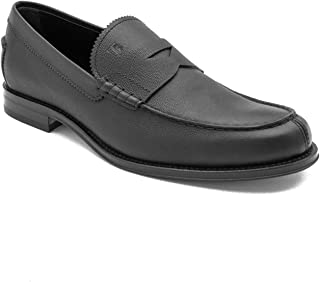 Tod's Men's Pebbled Leather Penny Loafer Shoes Black