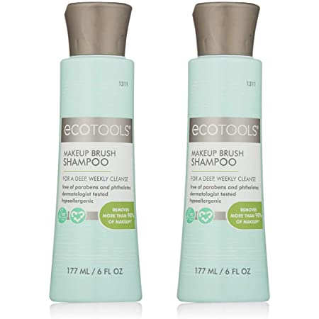 Ecotools Makeup Cleaner for Brushes, Brush and Sponge Cleansing Shampoo, 6 oz, Pack of 2 (Packaging May Vary)