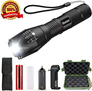 LED Tactical Flashlight - iBester High Powered Flashlight with Rechargeable Battery & Charger & Holster, High Lumen, Zoomable, 5 Modes, Water Resistant - Best Camping, Emergency Flashlights