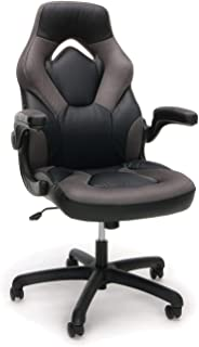 Essentials Racing Style Leather Gaming Chair - Ergonomic Swivel Computer, Office or Gaming Chair, Gray (ESS-3085-GRY) (Renewed)
