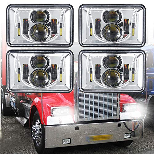 4 PCS DOT Approved Rectangular 4x6 inch LED Headlights Replacement H4651 H4652 H4656 H4666 H6545 For Kenworth T800 T600 Peterbilt 379 Feightliner Ford Probe Chevrolet Oldsmobile Cutlass Chrome…