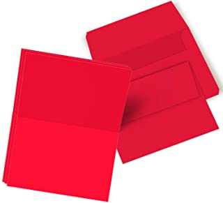 Red Blank 5x7 Greeting Cards with Red A7 Envelopes - 50 Cards & Envelopes