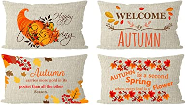 ITFRO Set of 4 Happy Thanksgiving Blessing Welcome Autumn is a Second Spring When Every Leaf is A Flower Lumbar Burlap Pillow Cover Cushion Shell Bedroom Living Room Decorative Rectangle 12x20 inches