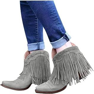 JoCome Women's Tassel Ankle Booties | Winter Suede Fringed Boots | Fashion Round-Toe Low Wedge Heel Booties | Tassels Dressy Short Boots Grey