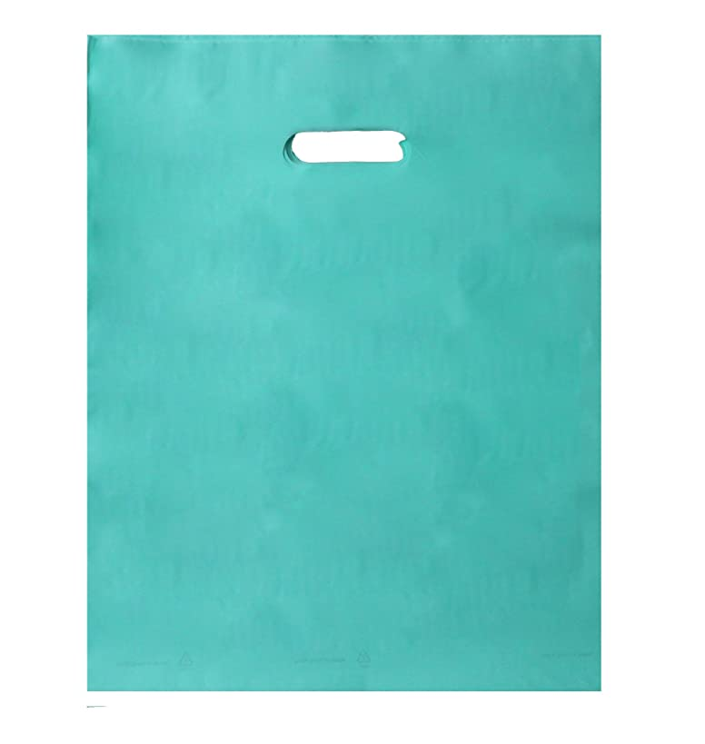 100pcs 12x15 2.5mil Extra Durable Merchandise bags Pick ur Color Die Cut Handle-Frosted finish-Anti-Stretch. For Retail, Party, Handouts and more by Best Choice (Aqua Blue)