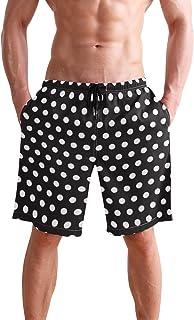 Men's Swim Trunks Black and White Polka Dot Quick Dry Beach Board Short with Mesh Lining
