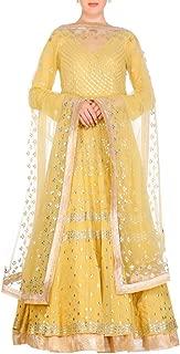 Pinkkart Yellow Indian Handmade Party wear Collection Ethnic Full Sleeve Lace Work Full Flairy Long Anarkali Suit Bespoke Gota Patti Work 108okh …