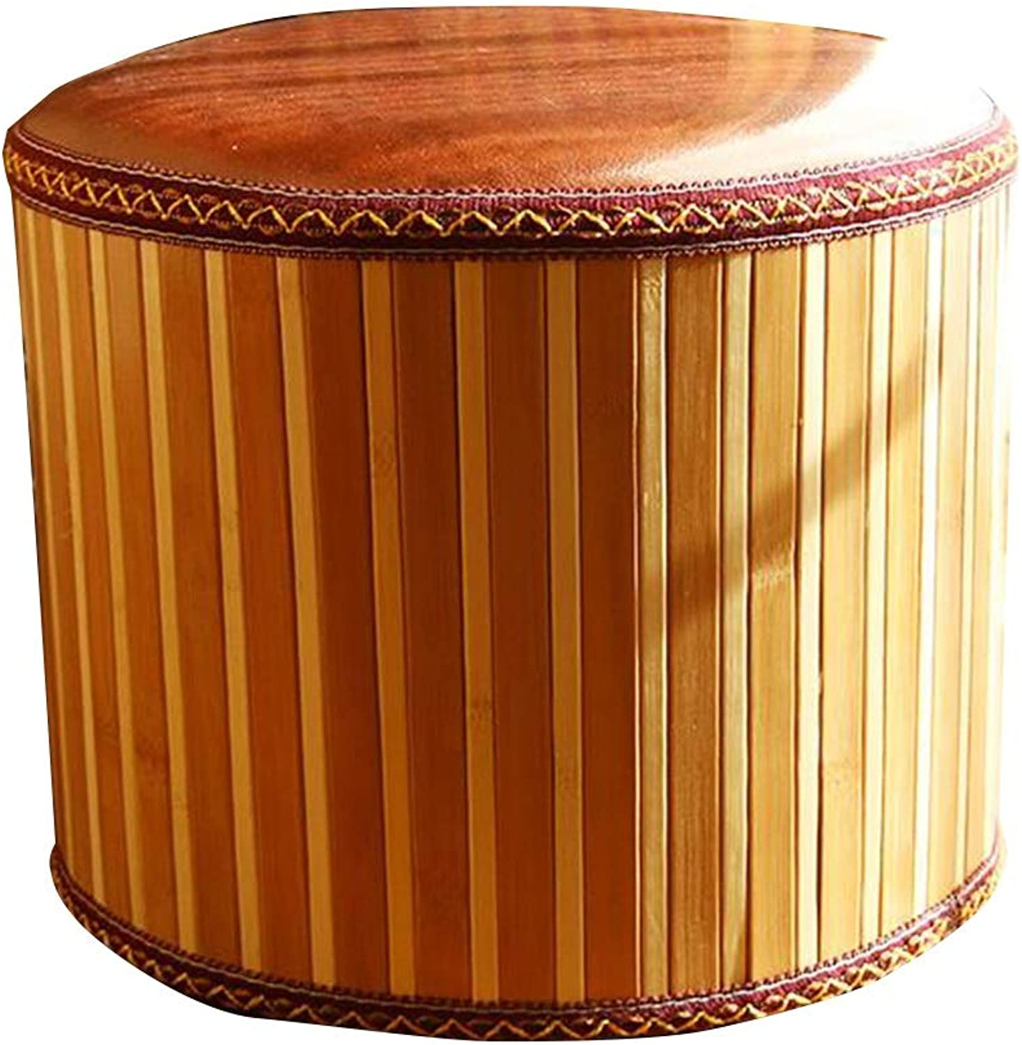 Pouffes and Footstools Creative Bamboo Low Stool Seat Comfortable PU Cushion , 8 Styles ( color    C-30x30x25cm )