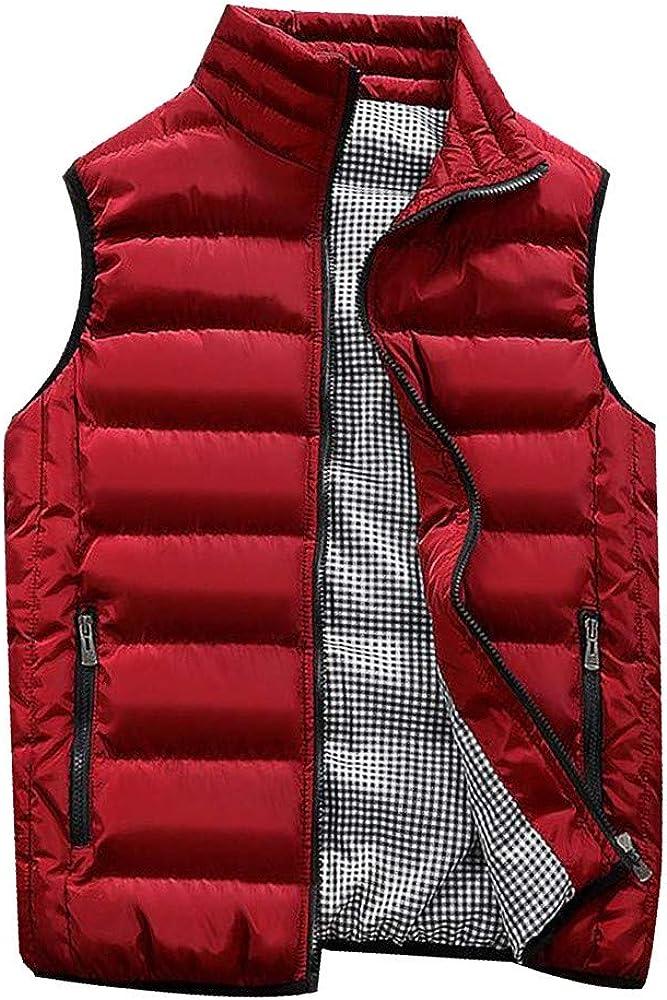 TIMEMEANS Vest Jacket for Men Autumn Winter Coat Padded Cotton Vest Warm Hooded Thick Vest Tops Jacket