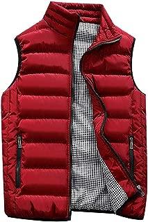 Big Daoroka Mens Plus Size Padded Cotton Vest Jackets Autumn Winter Pockets Zipper Coat Fashion Casual Outwear Tops Blouse