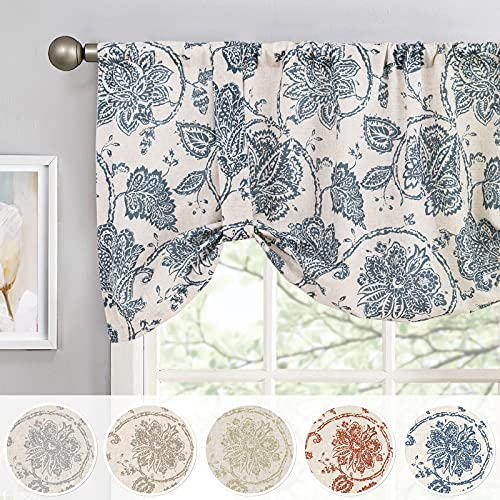 JINCHAN Valance Curtain Kitchen Farmhouse Window Valance for Living Room Linen Scroll Paisley Valance for Bedroom Bathroom Decor Floral Printed Tie Up Valance 20 Inch 1 Panel Rod Pocket Blue on Beige