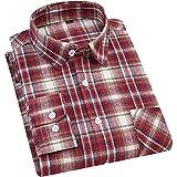 Camisas Manga Larga Hombre,Camisa A Cuadros De Manga Larga para Hombre Clásico Color Burdeos A Cuadros Rojos Camisas Casuales Cálidas De Algodón con Bolsillo Botón Tops Pa
