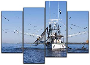 4 Panel Canvas Pictures gulf coast shrimping boat in biloxi fishing boat and seagullss and Home Decor Gifts Canvas Wall Art for your Living Room