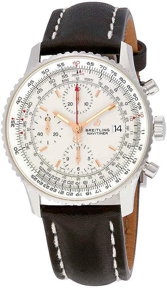 Breitling navitimer 1, orologio, cronografo automatico, regolo calcolatore, quadrante argentato A13324121G1X2