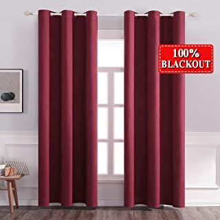MIULEE 84 inches Long Thermal Insulated Window Curtain Grommet Top Drapes 100% Blackout for Nightshifts' Bedroom 2 Pieces 42 inch Wide Red