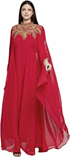 Women Dubai Kaftan Farasha Caftan Long Maxi Dress Long Sleeves Evening Dress with Free Scarf