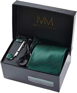 Massi Morino - Men tie set (incl. handkerchief + cufflinks + tie pin) Italian style ties for men