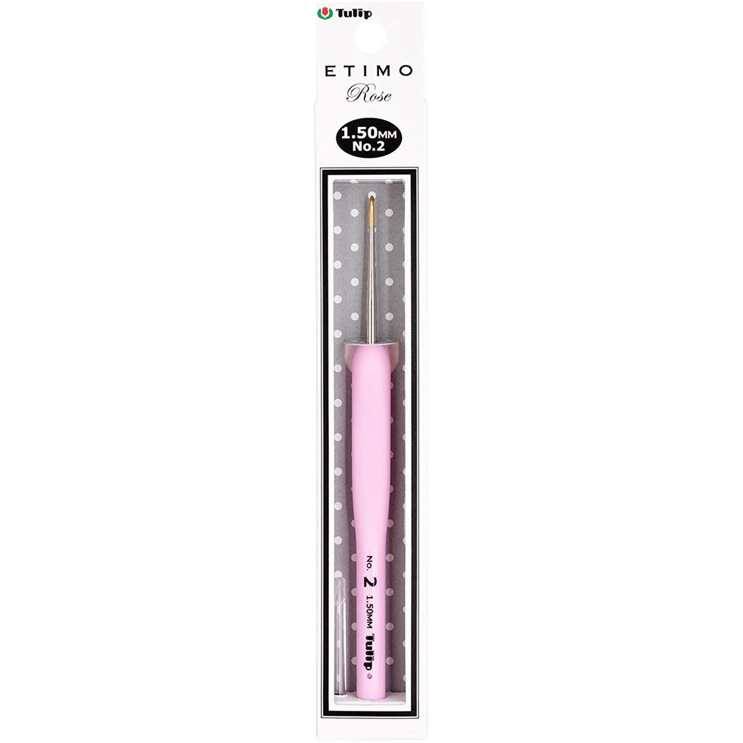 Tulip Needle Company TEL-02E Etimo Rose Steel Crochet Hook-Size 2/1.5mm