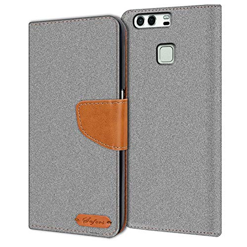 Verco P9 Hülle, Schutzhülle für Huawei P9 Tasche Denim Textil Book Hülle Flip Hülle - Klapphülle Grau