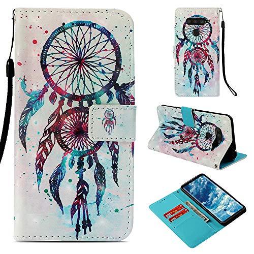 DodoBuy LG V50 ThinQ Hülle 3D Flip PU Leder Schutzhülle Stand Handy Tasche Brieftasche Wallet Hülle Cover für LG V50 ThinQ - Bunt Traumfänger