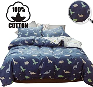 XUKEJU Reversible 3 Pieces Dinosaur Duvet Cover Cartoon Animal Print Bedding Set 100% Cotton Color Dino Sauropoda Comforter Cover Queen Size for Boys/Teens/Men