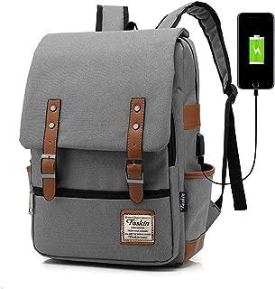 Professional Laptop Backpack with USB Charging Port, Feskin Fashion Travel Bag Vintage Business Work Computer Rucksack College School Casual Daypack for Women Men Girls - Gray
