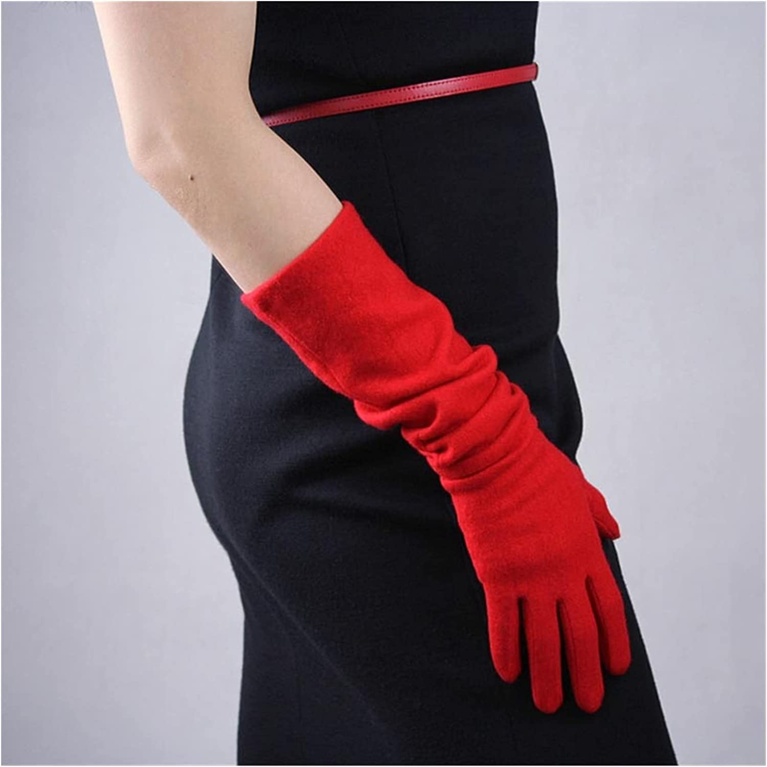 CHHNGPON Bridal Gloves Xmas Gifts Winter Warm Gloves Womens Wool Long Gloves Mittens Touchscreen Knit Gloves Arthritis Arm Warmers Gray Black (Color : Red)