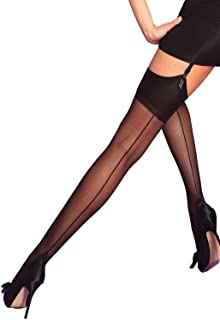 6ddd924bb Yummy Bee Silky Stockings for Suspenders Seamed Sheer Back Seam Cuban Heel  Lingerie Plus Size 8