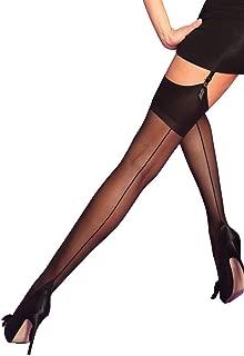 Silky Womens Suspender Sheer Stockings Back Seam Large Cuban Heel