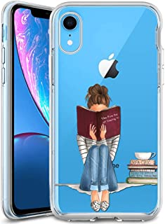 iPhone Xr Phone Case - Cholaty Girl Reading Book Pattern Design Soft TPU- CholatyClear Full Body Drop- CholatyProof Phone Case for iPhone Xr