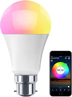 HaoDeng WiFi LED Light Bulb (B22) - Timer, Dimmable, Multicolor, Warm White - 60w Equivalent (7W), No Hub Required, Compat...