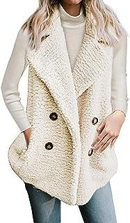 Kevins Bridal DJBM Womens Outerwear Faux Fur Open Front Lapel Sleeveless Vest Casual Fleece Waistcoat Ivory-3XL
