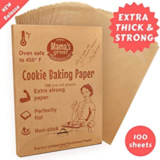 Extra Strong Unbleached Parchment Paper Sheets for Half Sheet Pans 12x16 (100) Pre Cut Oven Baking Paper Sheets. Double Side Silicone Coated Parchment Paper for Baking. Great Cookie Sheet Liner.