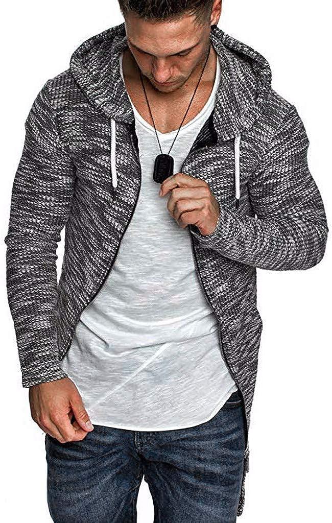 FORUU Men's Coats Clearance,Plus Size Lightweight Casual Pleats Slim Stripe Fit Zipper Long Sleeve Open Front Coat